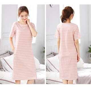 條紋休閒連身裙居家服睡衣