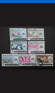 Malaysia 1965 Melaka Orchids Definitive Complete Set - 7v MH & Used Stamps