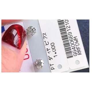 特價日本廠直銷pt1ct鑽石耳釘(男女均可)