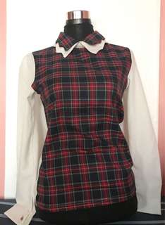 White Sleeve Checkered Blouse with Collar