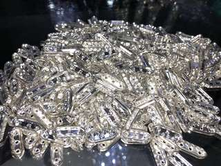 Brass Rhinestone Bridge Spaces, Silver Plated, 3 Hole Spacer, 20mm x 3mm, 2mm hole