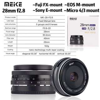 Meike 28mm f/2.8 Fixed Manual Focus Lens