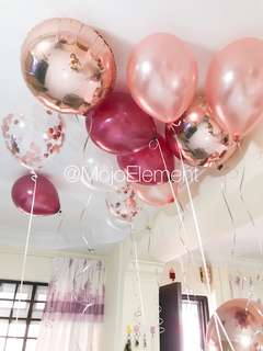 Rose Gold Wine Baloons