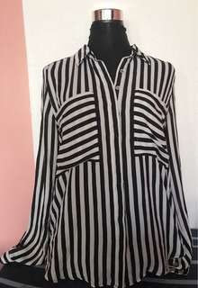 Black and White Stripes Blouse Top
