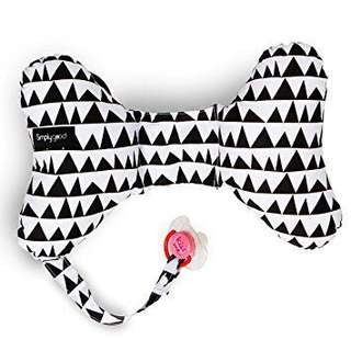 Simply Good Butterfly Baby Neck Pillow Head Support Travel Cushion and Pacifier Holder for newborn (Geo Love (Black on White)