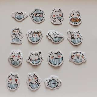 Cat in bowl stickers