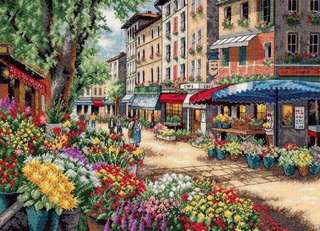 00154 Paris Marketplace Cross Stitch in Black and White Print