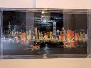 Oil canvas painting - Hong Kong night skyline