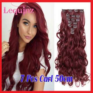 7pcs Curly Hair Extensions Clip On Wine Red 118