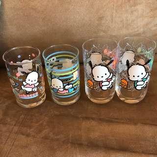 Pochacco玻璃杯 PC狗絕版Sanrio1999,1998,1997