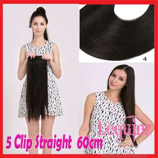 5clips Hair Extensions Straight 60cm Brownish Black #4