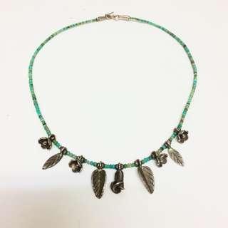 純銀 玫瑰葉子銀飾🌹 土耳其藍 珠珠 短項鍊