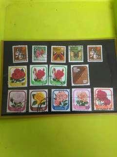 包郵 新西蘭 紐西蘭 1970-1975年 中古 老郵票 14枚 花 蝴蝶 飛蛾