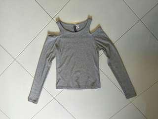 Grey Cold Shoulder Top