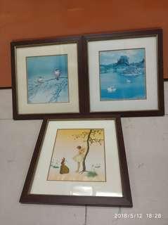 三幅畫 共收50元 29X31 cm