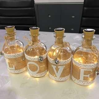 Fairy Lights L-O-V-E Glass Bottles