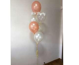 (12/5) Helium Latex balloon Bouquet ( Rose gold Transparent White Theme )