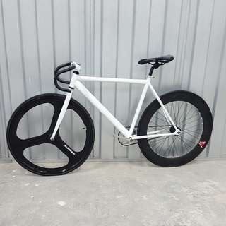 Custom Black-White Theme Navigate Trispoke 70mm Wheel Fixed Free Coaster Fixie Single Speed Road Bike