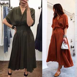 2018 South Korean spring and summer new waist V-neck fashion dress