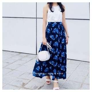 Cheris Blue Florals Maxi Skirt