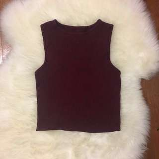 Burgundy Ribbed Fitted Crop Top