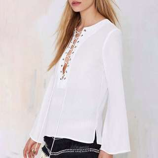 RTP$30 H&M Lace Up Top in White
