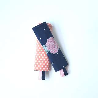 Blossom Peach Polka Dots Seat Belt Pads / Stroller Pads