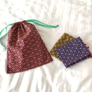 Handmade 泰國傳統布匹索繩袋