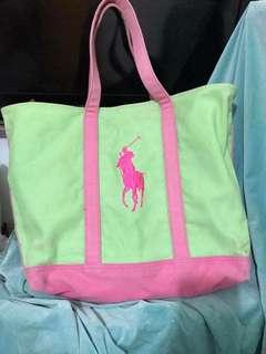 正貨 絕版 polo ralph lauren 粉綠色 大餃子袋 手挽袋 側咩袋 返學 返工首選 媽媽奶粉袋T