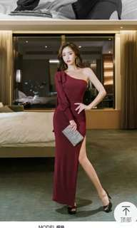 Sexy cross toga evening gown
