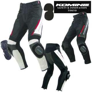 Komine PK-717 PK 717 PK717 mesh armoured pants sliders racing suit leather