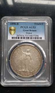 PCGS AU53 100% Original Britain Trade Dollars 1898-B