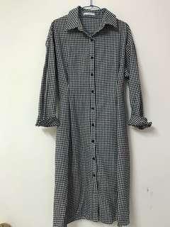 黑白格紋長版罩衫洋裝