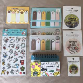 Assorted stationary sale! Stickers, page markers, vocabulary notebooks