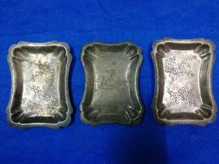 Antique uncommon silver plated plates