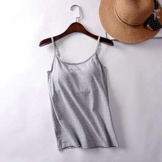Grey built-in bra padded singlet/tank top