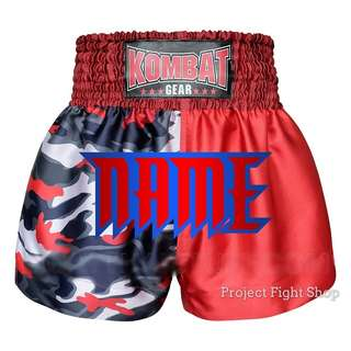 Customize Kombat Gear Muay Thai Boxing MMA Shorts Red 2 Tone Camouflage
