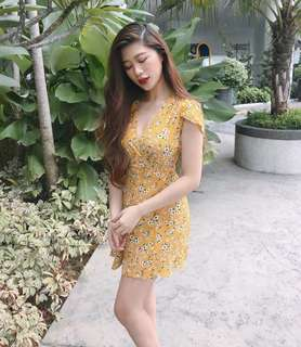 Wrap Yellow Floral Dress