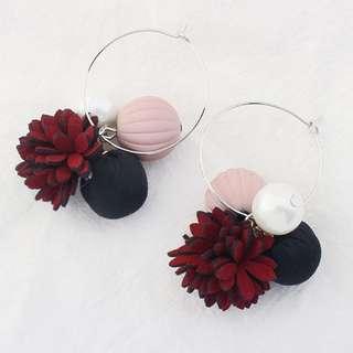 [INSTOCKS] Floral Woven Pom Pom Pearl Hoop Earrings