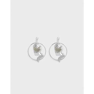 CK charles and keith floral dried flower sliver white bauble earrings