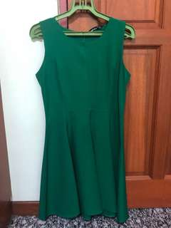 Sixties Dark Green Sleeveless Skater Dress