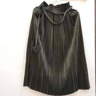 [New]Velvet pleated green skirt