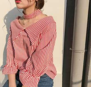 🚚 (全新免運)韓版時尚V領露肩直條紋喇叭袖掛脖襯衫