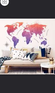 ✔Instock World map wall sticker diy home decor