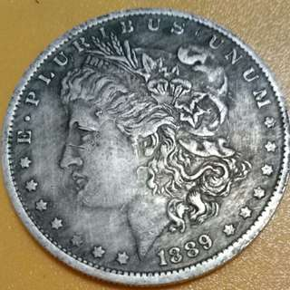 USA Morgan 1889-CC  KM#110 One Dollar Silver-nickel Coin 38.1mm