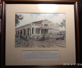 Raffles Hotel Beach Road Ink Painting