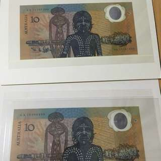 Australia 10 dollars- world first polymer notes