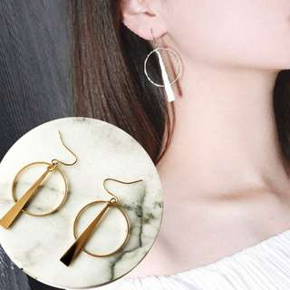 [INSTOCKS] Geometric Minimalistic Circle Triangle Dangling Earrings