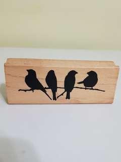 (Inkadinkado) birds on branch wood mounted stamp