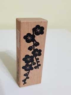 (Hanko designs) plum blossom branch wood mounted